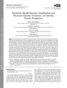 Electronic Health Records Assimilation and Physician Identity Evolution