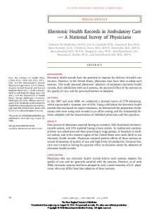 Electronic Health Records in Ambulatory Care — A National Survey ...