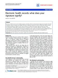 Electronic health records: what does your signature ... - Springer Link