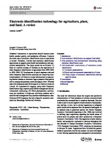 Electronic identification technology for agriculture, plant, and food. A ...