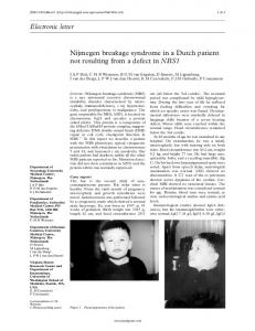 Electronic letter Nijmegen breakage syndrome in a ... - Europe PMC