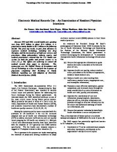 Electronic Medical Records Use - An Examination of ... - CiteSeerX