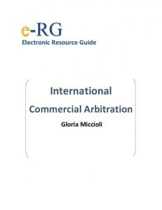 Electronic Resource Guide on International Commercial Arbitration