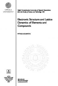 Electronic Structure and Lattice Dynamics of ... - Petros Souvatzis