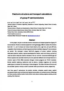 Electronic structure and transport calculations of group-IV ...