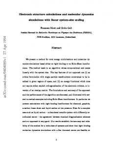 Electronic structure calculations and molecular dynamics simulations