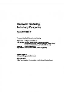Electronic Tendering: An Industry Perspective - QUT ePrints