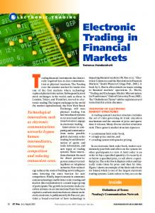 Electronic Trading in Financial Markets