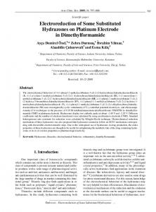 Electroreduction of Some Substituted Hydrazones on Platinum ...