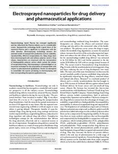 Electrosprayed nanoparticles for drug delivery and pharmaceutical ...