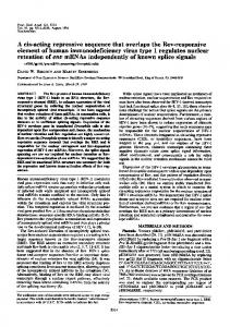 element of human immunodeficiency virus type 1 regulates nuclear ...