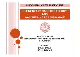 elementary cascade theory and gas turbine performance