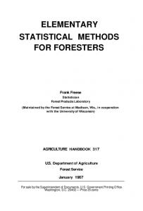 ELEMENTARY STATISTICAL METHODS FOR FORESTERS