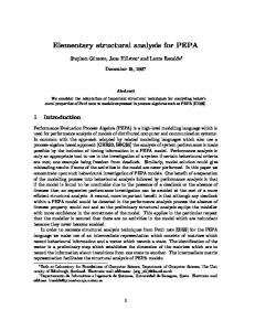 Elementary structural analysis for PEPA
