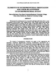 elements of entrepreneurial orientation and their ...