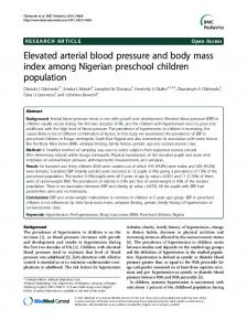 Elevated arterial blood pressure and body mass index among ...