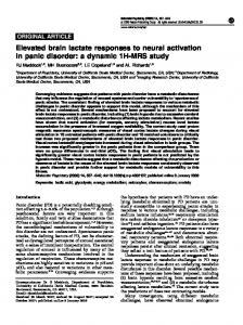 Elevated brain lactate responses to neural activation in panic disorder ...