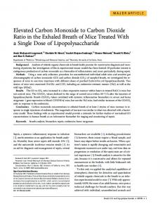 Elevated Carbon Monoxide to Carbon Dioxide Ratio in the Exhaled