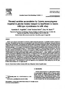 Elevated carnitine accumulation by Listeria ... - Semantic Scholar