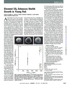 Elevated CO2 Enhances Otolith Growth in Young Fish BREVIA