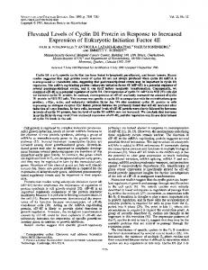 Elevated Levels of Cyclin D1 Protein in Response to Increased ...