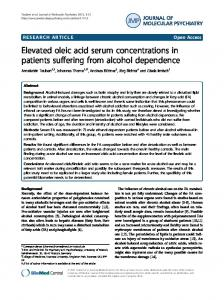 Elevated oleic acid serum concentrations in