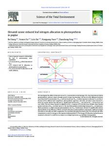 Elevated ozone reduced leaf nitrogen allocation to