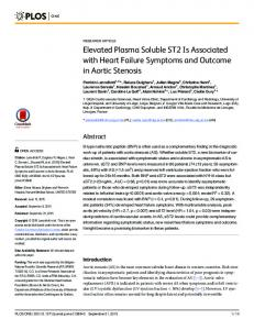 Elevated Plasma Soluble ST2 Is Associated with