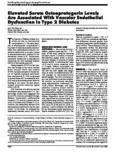 Elevated Serum Osteoprotegerin Levels Are ... - Diabetes Care