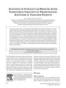 Elevation of Intraocular Pressure After Intravitreal Injection of ... - Core