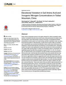 Elevational Variation in Soil Amino Acid and