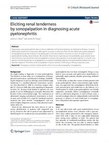 Eliciting renal tenderness by sonopalpation in ... - Springer Link