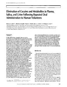 Elimination of Cocaine and Metabolites in Plasma, Saliva, and Urine ...
