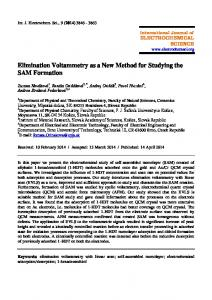 Elimination Voltammetry as a New Method for Studying the SAM ...