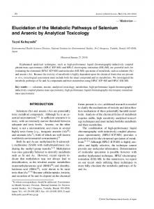 Elucidation of the Metabolic Pathways of Selenium and Arsenic by ...