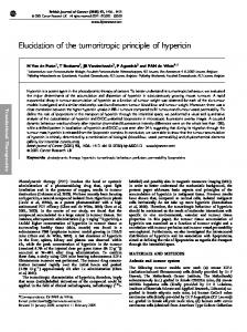 Elucidation of the tumoritropic principle of hypericin - BioMedSearch