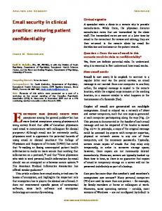 Email security in clinical practice: ensuring patient