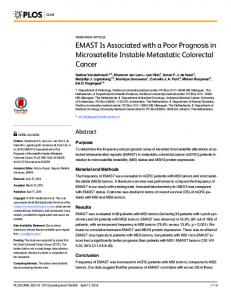 EMAST Is Associated with a Poor Prognosis in ... - Semantic Scholar