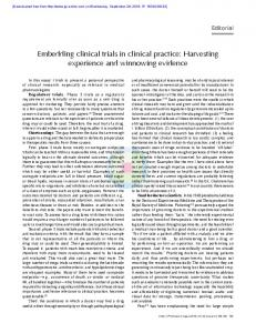 Embedding clinical trials in clinical practice
