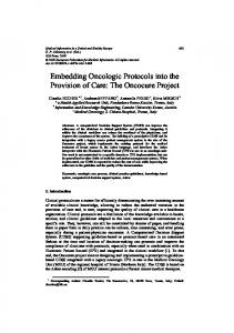 Embedding Oncologic Protocols into the Provision of Care - CiteSeerX