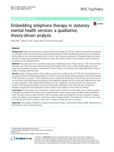 Embedding telephone therapy in statutory mental health services: a ...