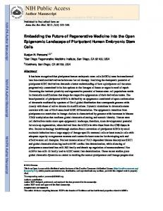 Embedding the Future of Regenerative Medicine into the Open ...