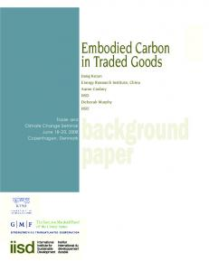 Embodied Carbon in Traded Goods - Ictsd