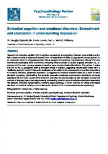 Embodied cognition and emotional disorders