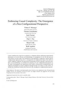 Embracing Causal Complexity - University of Southern California