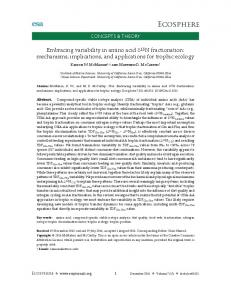 Embracing variability in amino acid δ - Wiley Online Library
