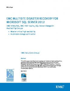 EMC Multisite Disaster Recovery For Microsoft SQL Server 2012 ...