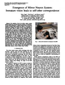 Emergence of Mirror Neuron System: Immature vision leads to self ...