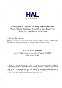 Emergence of Organic Farming under Imperfect Competition - Hal-SHS