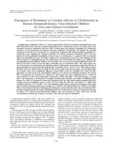 Emergence of Resistance of Candida albicans to Clotrimazole in ...
